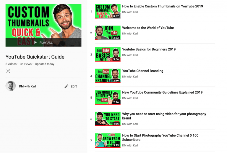 YouTube Playlists DMwithKarl