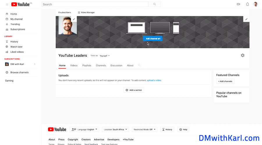 New-YouTube-Channel-Home-Page-Channel-Art-setup-DMwithKarl